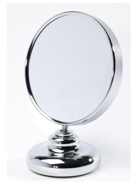 Miroir double face diamètre 12 cm sur pied face grossissante x8 Zingus